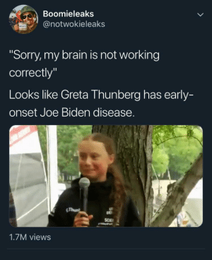 """Joe Biden, Memes, and Sorry: Boomieleaks  @notwokieleaks  MEMES  """"Sorry, my brain is not working  correctly""""  Looks like Greta Thunberg has early-  onset Joe Biden disease.  RS  GThun  BE  SCIE  1.7M views Making fun of an autistic 16 year old girl who wants to save the planet to own the libs"""