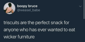 want some aged Asiago with that armrest?: boopy bruce  @weasel_babe  triscuits are the perfect snack for  anyone who has ever wanted to eat  wicker furniture want some aged Asiago with that armrest?
