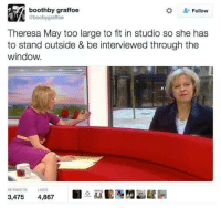 Boobie: boothby graffoe  Follow  @booby graffoe  Theresa May too large to fit in studio so she has  to stand outside & be interviewed through the  window.  RETWEETS UKES  3,475  4,867
