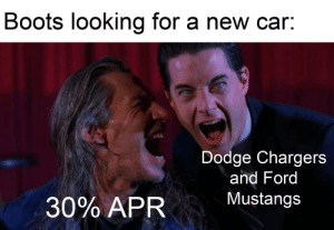 Boots, Chargers, and Dodge: Boots looking for a new car:  Dodge Chargers  and Ford  Mustangs  30% APR What a great deal for our boots