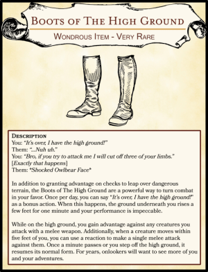 Boots Of The High Ground Wondrous Item Very Rare