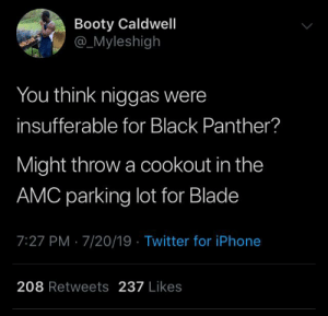 Blackpeopletwitter, Blade, and Booty: Booty Caldwell  _Myleshigh  You think niggas were  insufferable for Black Panther?  Might throw a cookout in the  AMC parking lot for Blade  7:27 PM 7/20/19 Twitter for iPhone  208 Retweets237 Likes I-