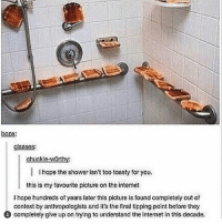 Internet, Memes, and Shower: bopx  glsases:  chuckle-worthy  hope the shower isn't too toasty for you  this is my favourite picture on the internet  I hope hundreds of years later this picture is found completely out of  context by anthropologists and it's the final tipping point before they  completely give up on trying to understand the internet in this decade. Yes