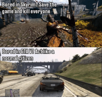 Who else does this?😂: Bored in Skyrim? Save the  game-and-kill everyone  normal Who else does this?😂