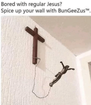 Bored, Jesus, and Spice: Bored with regular Jesus?  Spice up your wall with BunGeeZusTM Go Jesus