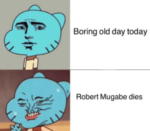 One down many more to go: Boring old day today  Robert Mugabe dies  11 One down many more to go