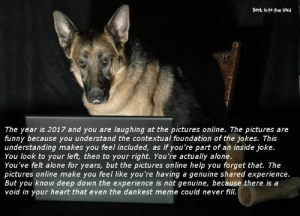Dankest Meme: Bork Into the void  The year is 2017 and you are laughing at the pictures online. The pictures are  funny because you understand the contextual foundation of the jokes. This  understanding makes you feel included, as if you're part of an inside joke.  You look to your left, then to your right. You're actually alone.  You've felt alone for years, but the pictures online help you forget that. The  pictures online make you feel like you're having a genuine shared experience.  But you know deep down the experience is not genuine, because there is a  void in your heart that even the dankest meme could never fill.