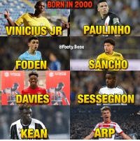 Memes, 🤖, and Arp: BORN IN 2000  Si  VINICIUSUR PAULINHO  @Footy.Base  FODEN  SANCHO  AZS  DAVIES  S SESSEGNON  KEAN  ARP Talents from 2000 🔥 Biggest talent out of these? 👀 Follow @footy.base ✅