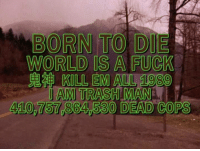 Born to Die, Dank Memes, and Jam: BORN TO DIE  WORLD IS A FUCK  KILL EM ALL 1089  JAM TRASHIMANA  530 DEAD COPS