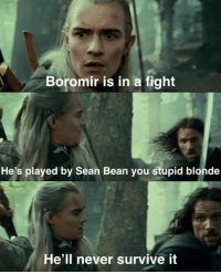 Leglos y u so stupid. We all know dat Sean Bean will die: Boromir is in a fight  He's played by Sean Bean you stupid blonde  He'll never survive it Leglos y u so stupid. We all know dat Sean Bean will die
