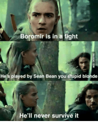 boromir: Boromir is in a fight  He's played by Sean Bean you stupid blonde  e'll never survive it