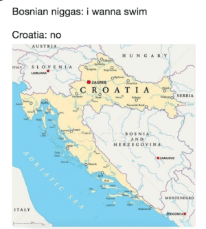 Swimming in Bosnia by theafonis FOLLOW HERE 4 MORE MEMES.: Bosnian niggas: I wanna swim  Croatia: no  AUSTRIA  H UN GAR Y  TALYSLOVE  ZAGREB  R O A T I A  Potega  SERBIA  Slavonski Brod  BOSNIA  AND  HERZEGOVIN  SARAJEVO  MONTENEGRO  ITALY Swimming in Bosnia by theafonis FOLLOW HERE 4 MORE MEMES.