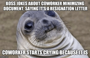 Crying, Jokes, and Com: BOSS JOKES ABOUT COWORKER MINIMIZING  DOCUMENT, SAYING ITSARESIGNATION LETTER  COWORKERSTARTS CRYING BECAUSEITIS  imgflip.com I was the only other person in the room
