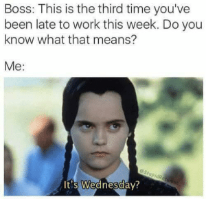😬: Boss: This is the third time you've  been late to work this week. Do you  know what that means?  Me:  eStupidResames  It's Wednesday? 😬