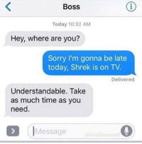 Shrek, Sorry, and Time: Boss  Today 10:32 AM  Hey, where are you?  Sorry I'm gonna be late  today, Shrek is on TV  Delivered  Understandable. Take  as much time as you  need.  IMessage