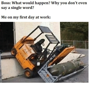 I hate Mondays.: Boss: What would happen? Why you don't even  say a single word?  Me on my first day at work:  pLS CAP  044 I hate Mondays.