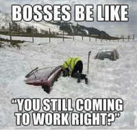 .: BOSSES BE LIKE  YOU STILL COMING  TO WORK RIGHT .
