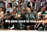 Shaq on the bench back in the day....  Lol: BOSTO  Mid-game snack for Shag.  iMenetetler  memecenter.com Shaq on the bench back in the day....  Lol