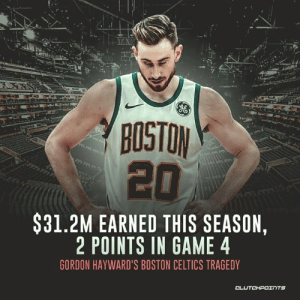 If you want to know what it feels like to be a Celtics fan right now, this pretty much sums it up. — @CelticsNationCP: BOSTON  20  $31.2M EARNED THIS SEASON,  2 POINTS IN GAME 4  GORDON HAYWARD'S BOSTON CELTICS TRAGEDY If you want to know what it feels like to be a Celtics fan right now, this pretty much sums it up. — @CelticsNationCP