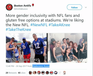 "memehumor:  ""Boston Antifa"" twitter account forgets to turn off location sharing: Boston Antifa  @AntifaBoston  Follow  More gender inclusivity with NFL fans and  gluten free options at stadiums. We're liking  the New NFL. #NewNFL #TakeAKnee  #TakeTheKnee  12  BVp  NFL fans 2015  NEL faOS017  12:40 PM - 26 Sep 2017 from Vladivostok, Russia  28 Retweets 65 Likes memehumor:  ""Boston Antifa"" twitter account forgets to turn off location sharing"