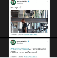 What happened during these 8 minutes: Boston Celtics  @celtics  0  No days off  @Putnam  3:32 PM 1/22/19 Twitter Web Client  Boston Celtics e  @celtics  #NEBHinjuryReport Al Horford (rest) is  OUT tomorrow vs Cleveland.  3:40 PM 1/22/19 Twitter Web Client What happened during these 8 minutes