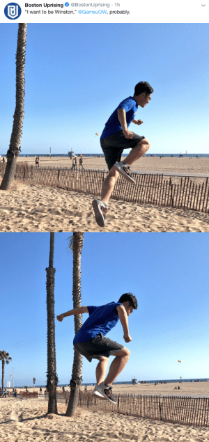 "Tumblr, Beach, and Blog: Boston Uprising. @BostonUprising . 1 h  ""I want to be Winston."" @GamsuoW, probably  リ delfyi:  I have no clue what he is doing- something healthy probs?? Winstons Jump Damage??? i have no clue?? have fun at beach tho"