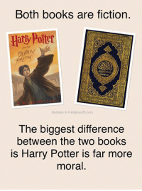 Harry Potter, Memes, and Would You Rather: Both books are fiction.  Hally Potter  Godless & Irreligious/fb.com  The biggest difference  between the two books  is Harry Potter is far more  moral. Which would you rather read to your kids?