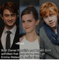 """qotd : comment """"😏"""" if you knew this and """"😱"""" if you didn't. Follow my other account: @thehpfilms: Both Daniel Radcliffe and Rupert Grint  admitted that they had a crush on  Emma Watson in earlier films  in earlier films qotd : comment """"😏"""" if you knew this and """"😱"""" if you didn't. Follow my other account: @thehpfilms"""