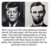 Anaconda, Friday, and Head: Both Lincoln and JFK were elected as president  exactly 100 years apart, with the same view and  ideas. They were both assassinated on a Friday  before a major holiday, each shot in the head, by  southerners with three names & a total of 15  letters, then replaced by a vice president with the  same last name of Johnson. RT @theyconspire: https://t.co/QoRJSJ4rBR