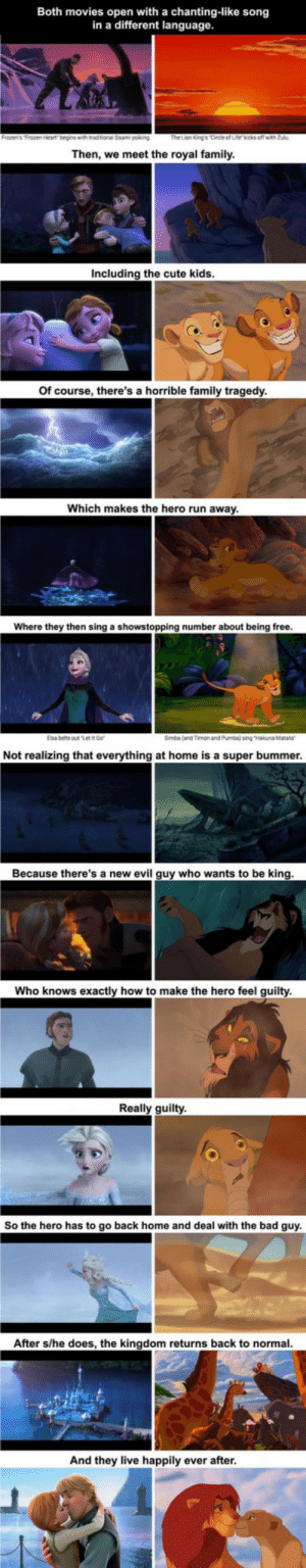 "Apparently Frozen And The Lion King Are The Same Movie: Both movies open with a chanting-like song  in a different language.  The Lion King's Circle of Life kicks off with Zulu  Then, we meet the royal family.  Including the cute kids.  Of course, there's a horrible family tragedy.  Which makes the hero run away.  Where they then sing a showstopping number about being free.  Elsa belts out ""Let IR Go  Simba (and Timon and Pumba) sing ""Hakuna Matata  Not realizing that everything at home is a super bummer.  Because there's a new evil guy who wants to be king.  Who knows exactly how to make the hero feel guilty.  Really guilty  So the hero has to go back home and deal with the bad guy.  After s/he does, the kingdom returns back to normal.  And they live happily ever after. Apparently Frozen And The Lion King Are The Same Movie"