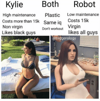 Virgin, Black, and Wild: Both Robot  Kylie  High maintenance Plastic  Costs more than 15k Same ig  Non virgin  Likes black guys  Low maintenance  Costs 15k  Virgin  likes all guys  Don't workout  @triggerology @triggerology comments were so wild on this one he had to go private 😂 @triggerology