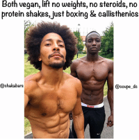 Haters will talk all kinds of sh*t but we let the work do the talking :) ❤🥑💚✊🏿🌱😂 @coupe_dc chakabars famfoods: Both vegan, lift no weights,no steroids, no  protein shakes, just boxing & callisthenics  @chakabars  coupe dc Haters will talk all kinds of sh*t but we let the work do the talking :) ❤🥑💚✊🏿🌱😂 @coupe_dc chakabars famfoods