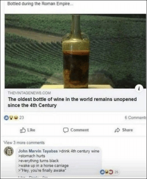58 Funny Random Pics Dump: Bottled during the Roman Empire...  THEVINTAGENEWS.cOM  The oldest bottle of wine in the world remains unopened  since the 4th Century  6 Comments  23  Like  Comment  Share  View 3 more comments  John Marvin Tayabas >drink 4th century wine  >stomach hurts  >everything turns black  wake up in a horse carriage  Hey, you're finally awake  25 58 Funny Random Pics Dump