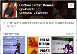 Community, Facebook, and Memes: Bottom lLeftist Memes  @bottomleftist  Community 24,099 likes  From each according to if he thicc, to each according to how  he succ  Recent Photos  See All  DIRECT ACTION  MY GENDER IS  PRO-ST  MESSAG MALE  ENO POVERTY  PROSTI コ FEM  GETARRESTED FOR  SUCKING DICK IN A couture-chancla: superpagangirl: bye This is why facebook has to give our data to the Feds  I'm admin on that page