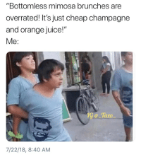 "Juice, Memes, and Champagne: ""Bottomless mimosa brunches are  overrated! It's just cheap champagne  and orange juice!""  Me:  1G e -Tavo  7/22/18, 8:40 AM Tag this person.."