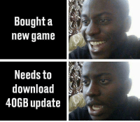 Honestly hate this.: Bought a  new game  Needs to  download  40GB update Honestly hate this.