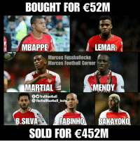 Football, Memes, and Good: BOUGHT FOR 52M  MBAPPE  LEMAR  Marcos Fussballecke  Marcos Football Corner  MARTIAL  MENDY  fTrollFootball  TheTrollFootball Inst  B.SILVA  SOLD FOR 452M Good job AS Monaco https://t.co/MCv2Jdd8vV