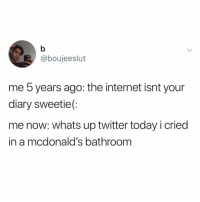 Internet, McDonalds, and Memes: @boujeeslut  me 5 years ago: the internet isnt your  diary sweetie(:  me now: whats up twitter today i cried  in a mcdonald's bathroom new year, same me cryin' on the internet 😎 (@boujeeslut on Twitter)