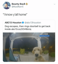 "@koolkerm: Bounty Boy$  @KoolKerm  ""I know y'all home""  ABC13 Houston @abc13houston  Dog escapes, then rings doorbell to get back  inside abc13.co/20V6bUq  nest  Greg Basel/Storyful @koolkerm"