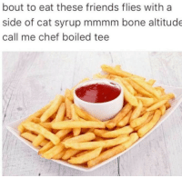 Friends, Memes, and Chef: bout to eat these friends flies with a  side of cat syrup mmmm bone altitude  call me chef boiled tee <p>These memes have reached a state of esotericism that will render them indecipherable to anyone in a few years.</p>