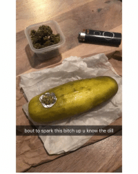 Bitch, Weed, and Marijuana: bout to spark this bitch up u know the dill RIP Pickle Rick 😂😭