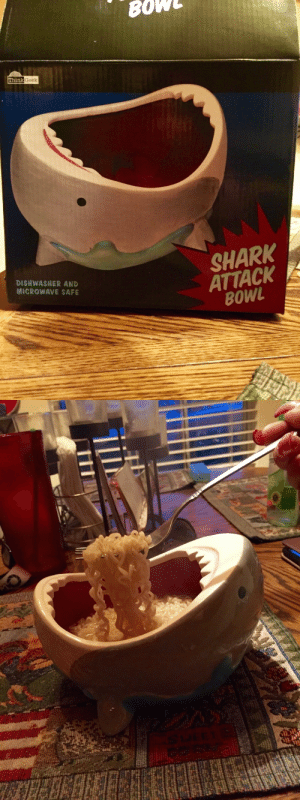 Tumblr, Shark, and Blog: BOW  Think Geek  SHARK  ATTACK  B0WL  DISHWASHER AND  MICROWAVE SAFE novelty-gift-ideas:  Shark Attack Bowl