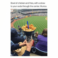 Soda, Chicken, and Girl Memes: Bowl of chicken and fries, with a straw  to your soda through the center. Murica. Lord have mercy