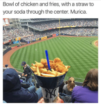We have a lot of differences in this country, especially in these trying times. But one thing all Americans can agree on, is that this shit looks fucking delicious and we're all gonna get diabetes for sure. (vegans in my comments will be Dikembe Mutombo-style blocked): Bowl of chicken and fries, with a straw to  your soda through the center. Murica. We have a lot of differences in this country, especially in these trying times. But one thing all Americans can agree on, is that this shit looks fucking delicious and we're all gonna get diabetes for sure. (vegans in my comments will be Dikembe Mutombo-style blocked)