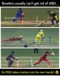 abd: Bowlers usually can't get rid of ABD  CaCaptainDhoni  CCaptainDhoni  So MSD takes matters into his own hands!