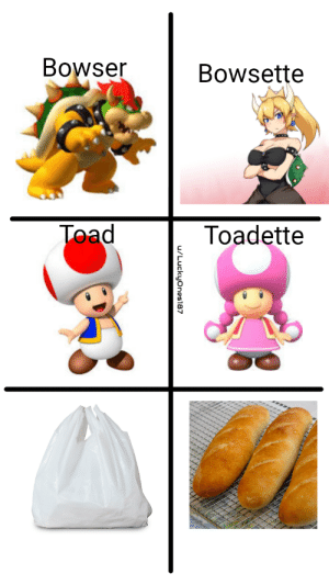 yes very clever: Bowser  Bowsette  Toad  Toadette  u/Luckyones87 yes very clever