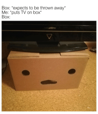 Irl, Me IRL, and Box: Box: expects to be thrown away*  Me: puts TV on box*  Box:  DION Me_irl