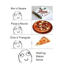 Nothing Makes Sense: Box is Square  Pizza is Round  Slice is Triangular  Nothing  Makes  Sense