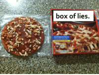 pepperoni pizza: box of lies.  PEPPERONI PIZZA  MADE WITH PORK, CHICKEN ADDED  MICROWAVES IN MINUTES