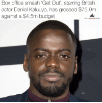 Memes, Budget, and Black Man: Box office smash 'Get Out', starring British  actor Daniel Kaluuya, has grossed $75.9m  against a $4.5m budget  THE YOUNG EMPIRE Get Out, a satirical horror film about race relations starring British actor Daniel Kaluuya has grossed $75.9m at the box office against a budget of $4.5m. . According to IndieWire, this could end up reaching a $140 million or higher total before its through. . The film, which centres on a black man who discovers that his girlfriend's liberal, lily-white hometown is guarding a sinister... . Read the full story on our site (link in bio) . @kaluuya 👑